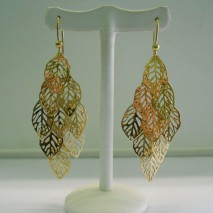 orecchini oro giallo multifoglia
