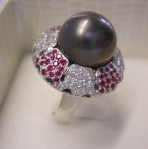 anello oro bianco perla taithi